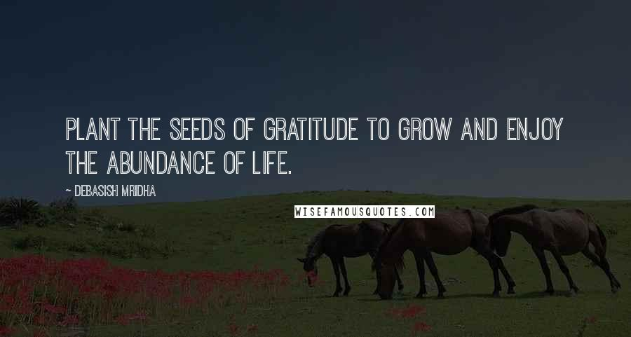 Debasish Mridha quotes: Plant the seeds of gratitude to grow and enjoy the abundance of life.