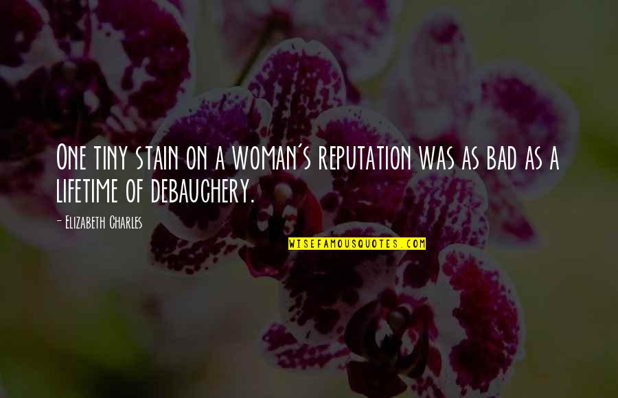 Debauchery Quotes By Elizabeth Charles: One tiny stain on a woman's reputation was