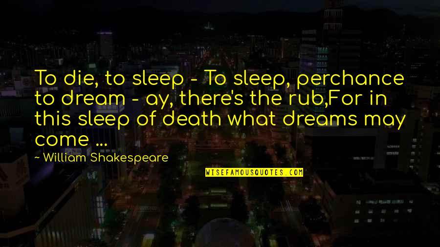 Debi Austin Quotes By William Shakespeare: To die, to sleep - To sleep, perchance
