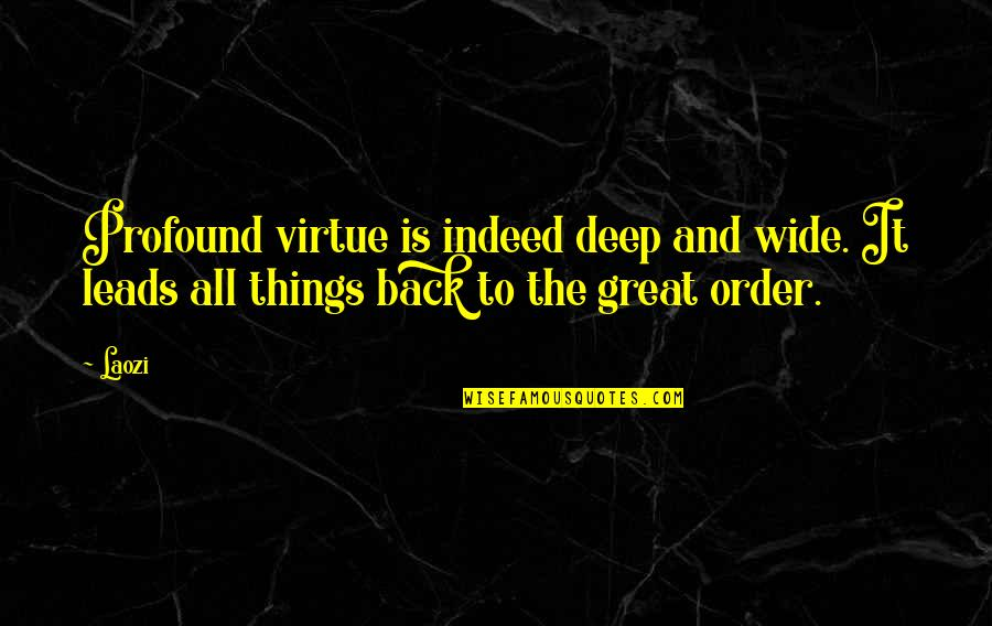 Deep And Wide Quotes By Laozi: Profound virtue is indeed deep and wide. It
