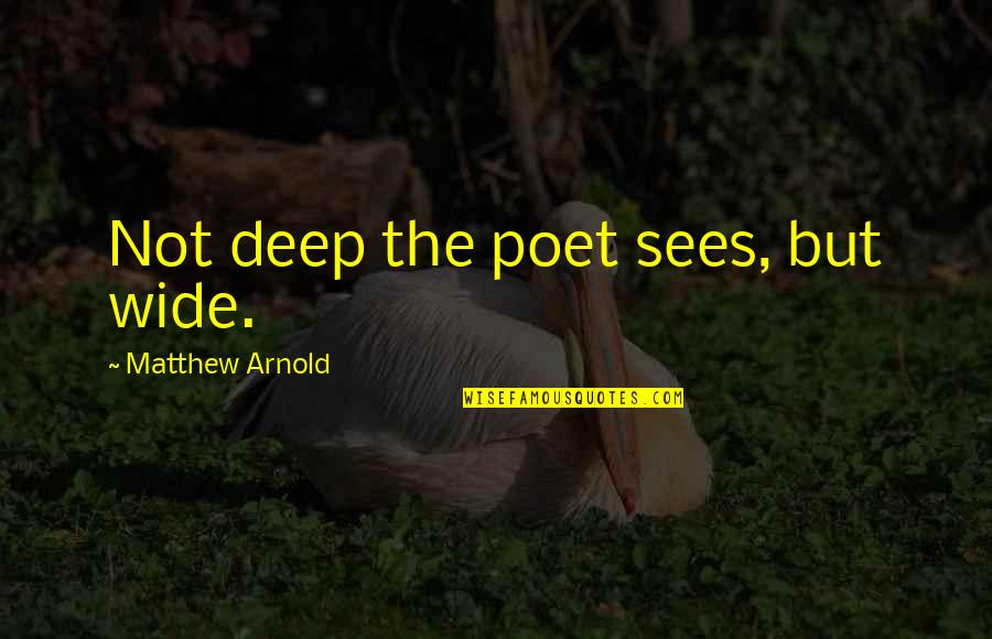 Deep And Wide Quotes By Matthew Arnold: Not deep the poet sees, but wide.