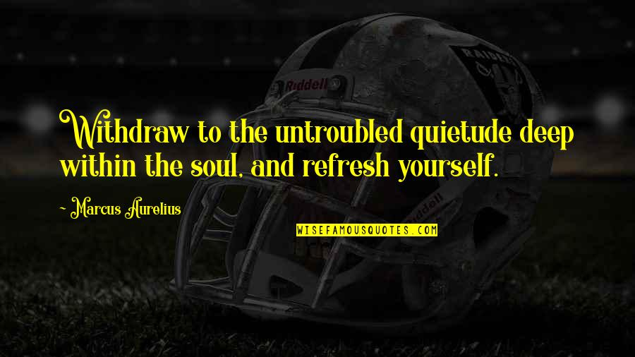 Deep In Your Soul Quotes By Marcus Aurelius: Withdraw to the untroubled quietude deep within the
