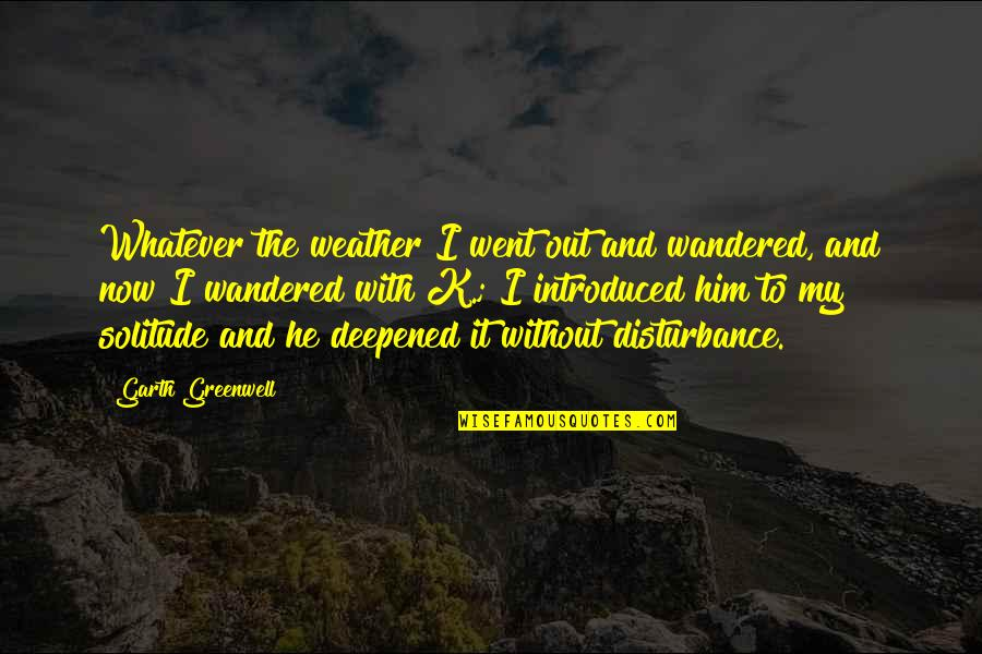 Deepened Quotes By Garth Greenwell: Whatever the weather I went out and wandered,