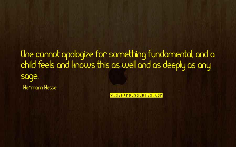 Deeply Apologize Quotes By Hermann Hesse: One cannot apologize for something fundamental, and a