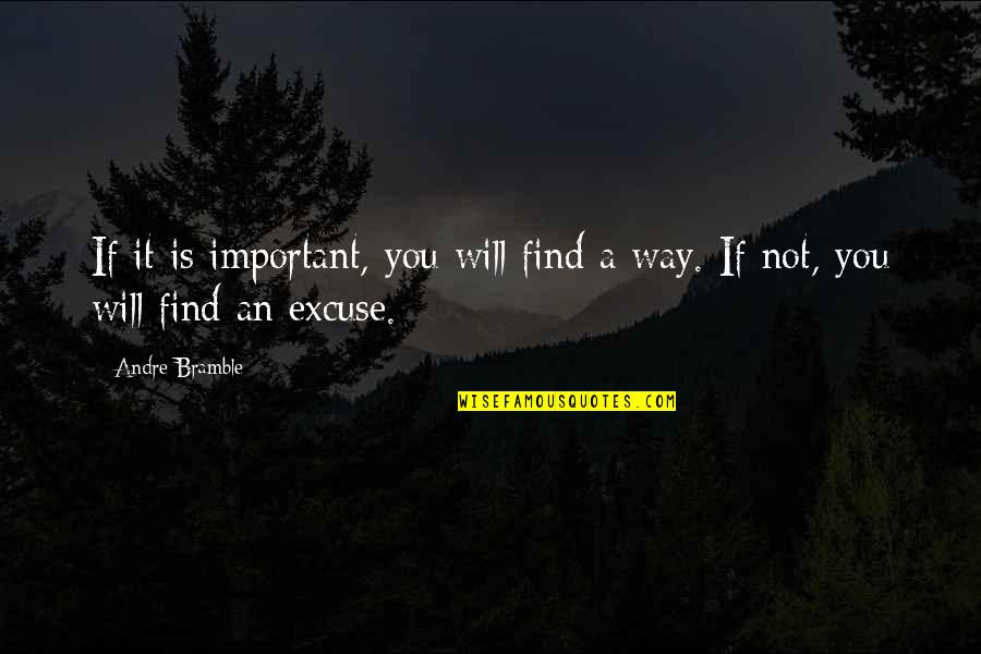 Deface Quotes By Andre Bramble: If it is important, you will find a