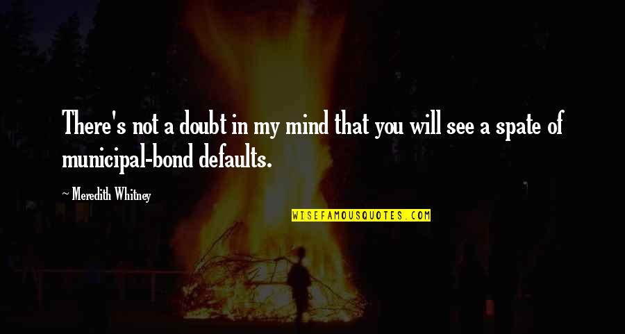 Defaults Quotes By Meredith Whitney: There's not a doubt in my mind that