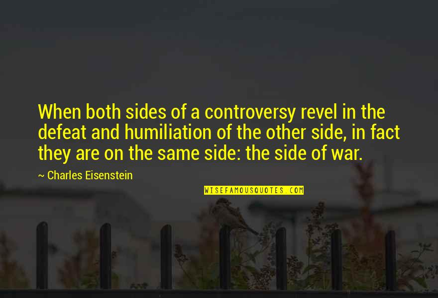 Defeat In War Quotes By Charles Eisenstein: When both sides of a controversy revel in