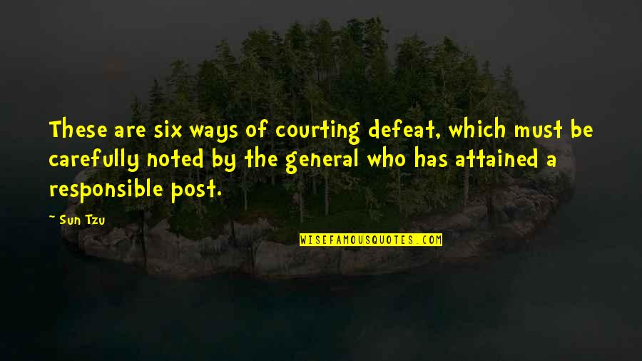 Defeat In War Quotes By Sun Tzu: These are six ways of courting defeat, which