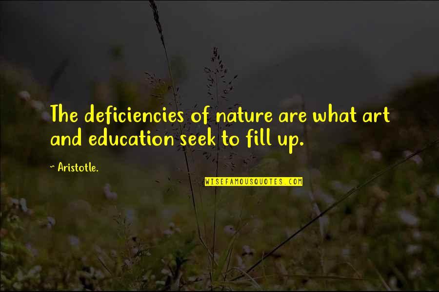 Deficiencies Quotes By Aristotle.: The deficiencies of nature are what art and