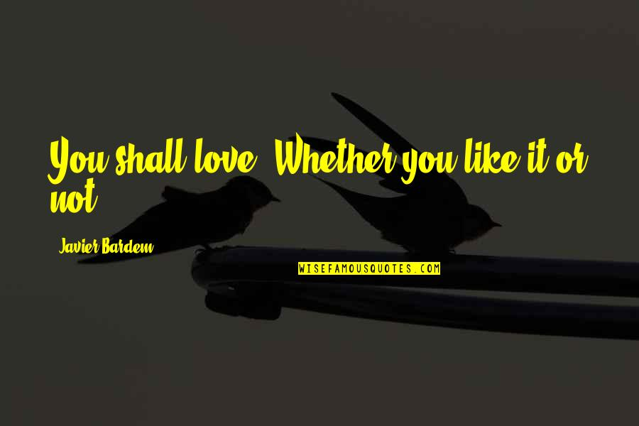 Definition Of Leadership Quotes By Javier Bardem: You shall love. Whether you like it or
