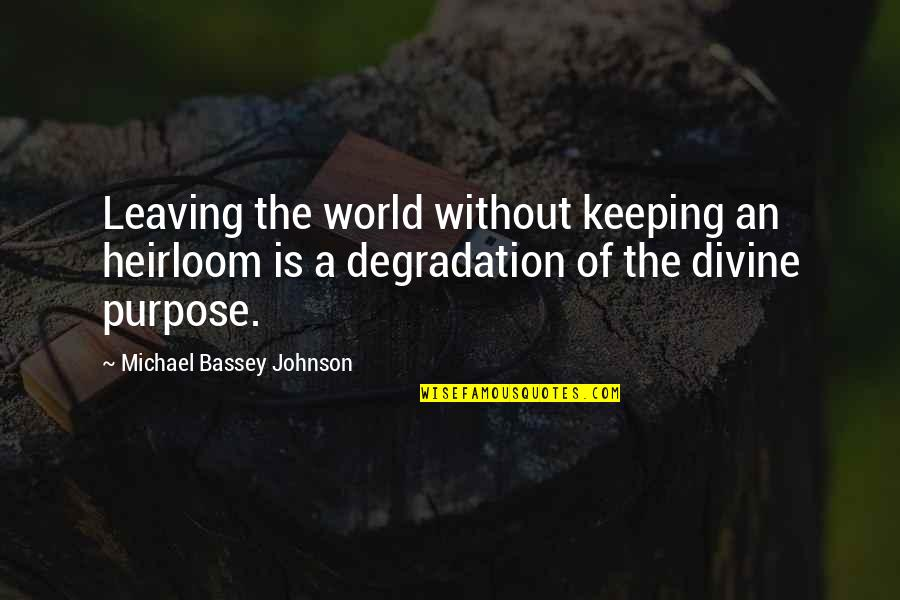Degradation Quotes By Michael Bassey Johnson: Leaving the world without keeping an heirloom is
