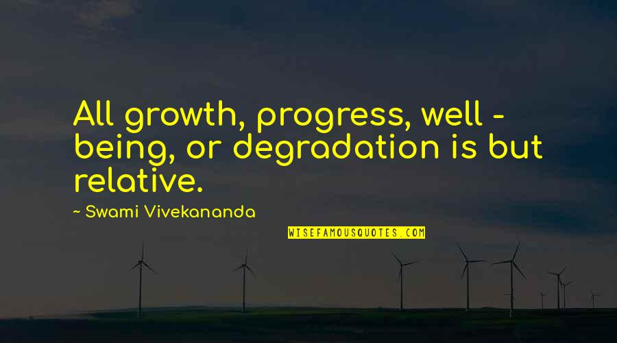 Degradation Quotes By Swami Vivekananda: All growth, progress, well - being, or degradation
