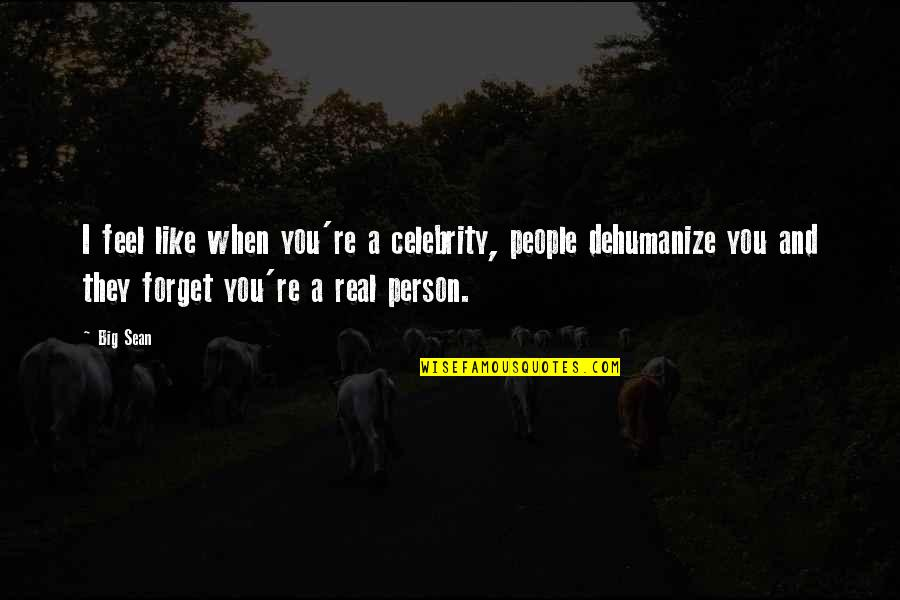 Dehumanize Quotes By Big Sean: I feel like when you're a celebrity, people
