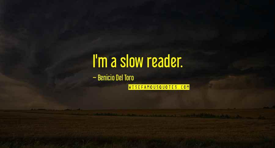 Del Toro Quotes By Benicio Del Toro: I'm a slow reader.