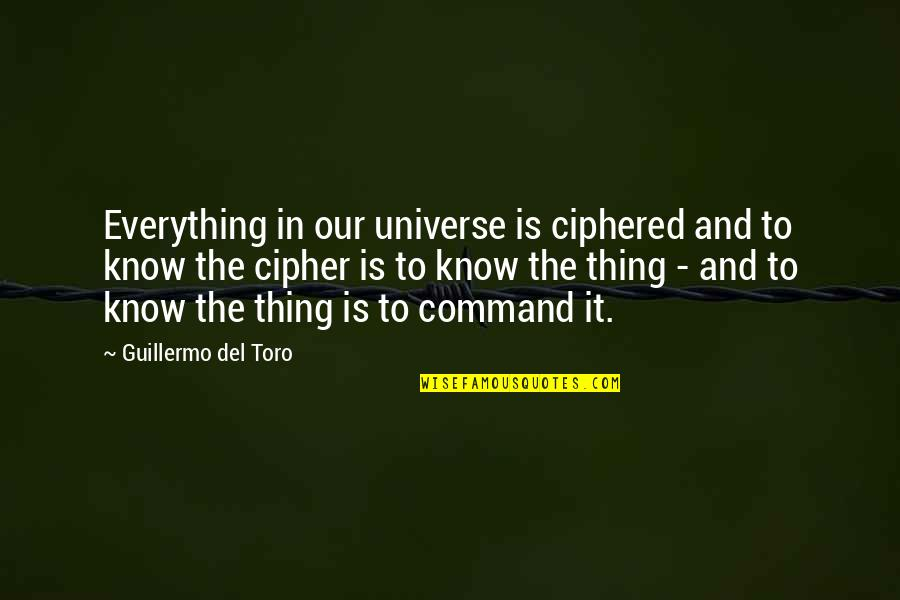 Del Toro Quotes By Guillermo Del Toro: Everything in our universe is ciphered and to