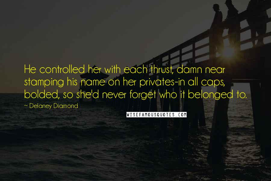 Delaney Diamond quotes: He controlled her with each thrust, damn near stamping his name on her privates-in all caps, bolded, so she'd never forget who it belonged to.