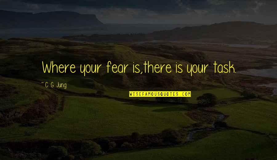 Delivering Milo Memorable Quotes By C. G. Jung: Where your fear is,there is your task.