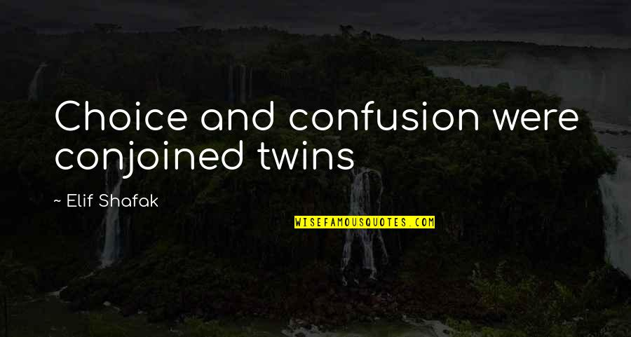 Delivering Milo Memorable Quotes By Elif Shafak: Choice and confusion were conjoined twins