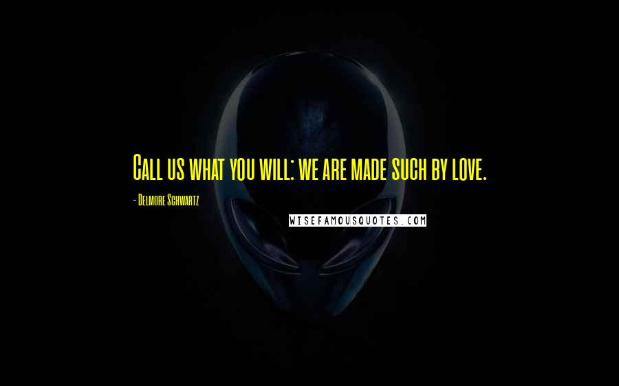 Delmore Schwartz quotes: Call us what you will: we are made such by love.