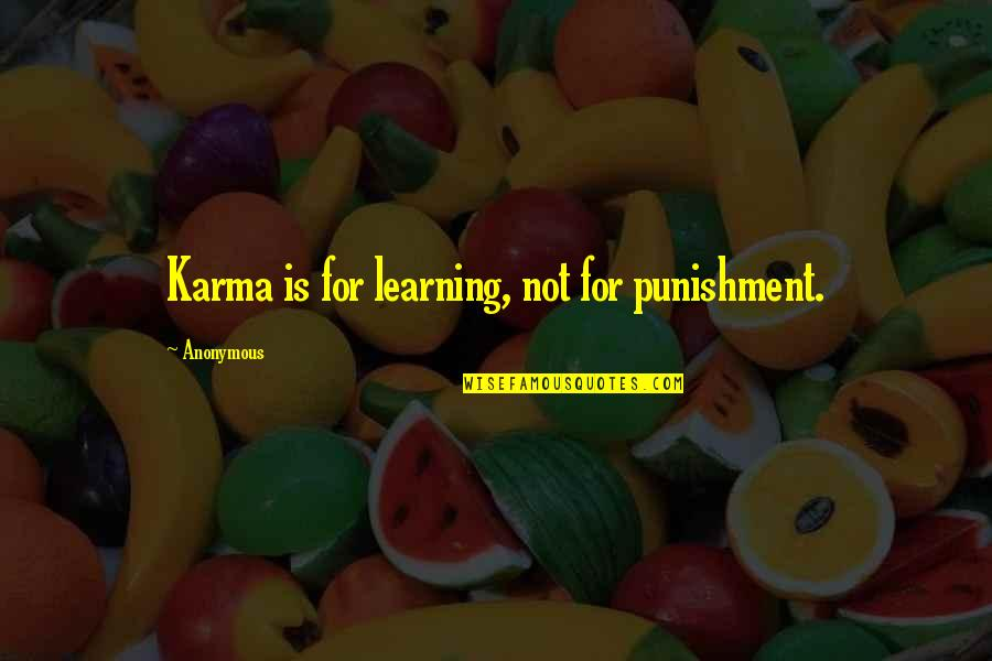 Demand Excellence Quotes By Anonymous: Karma is for learning, not for punishment.