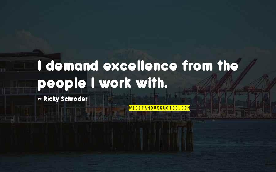 Demand Excellence Quotes By Ricky Schroder: I demand excellence from the people I work