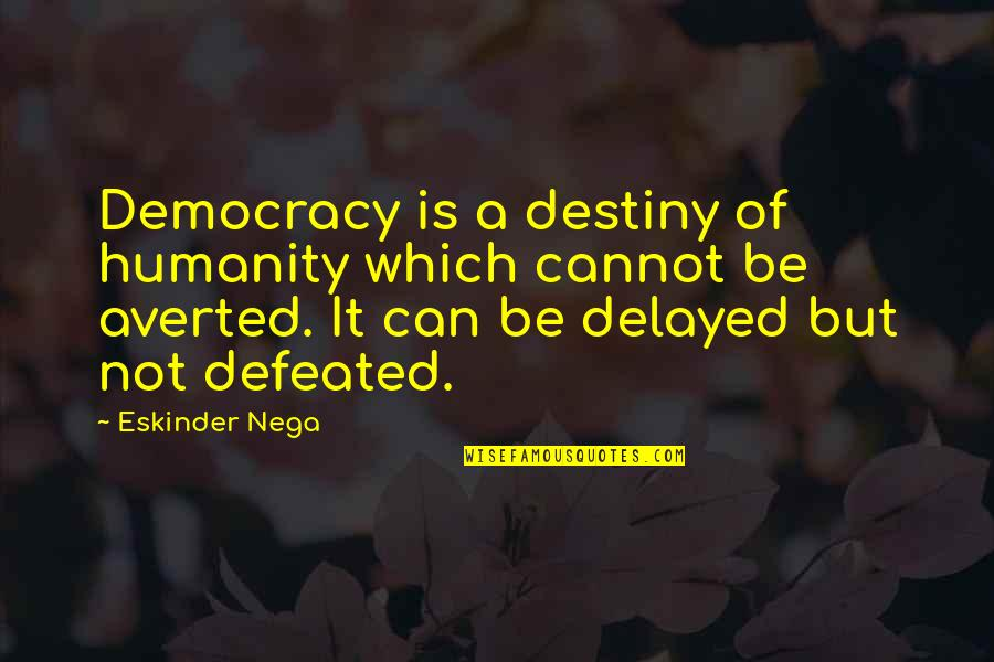Democracy Now Quotes By Eskinder Nega: Democracy is a destiny of humanity which cannot