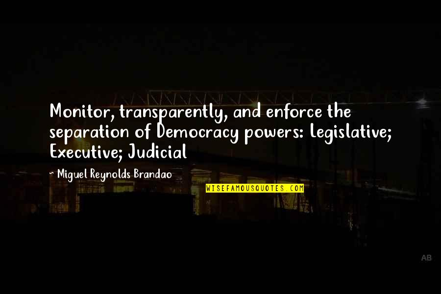 Democracy Now Quotes By Miguel Reynolds Brandao: Monitor, transparently, and enforce the separation of Democracy