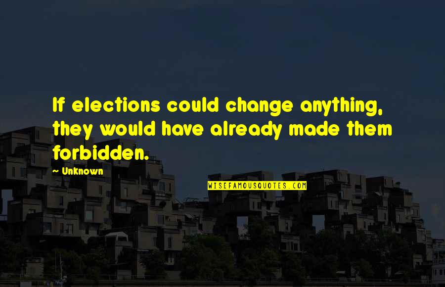 Democracy Now Quotes By Unknown: If elections could change anything, they would have