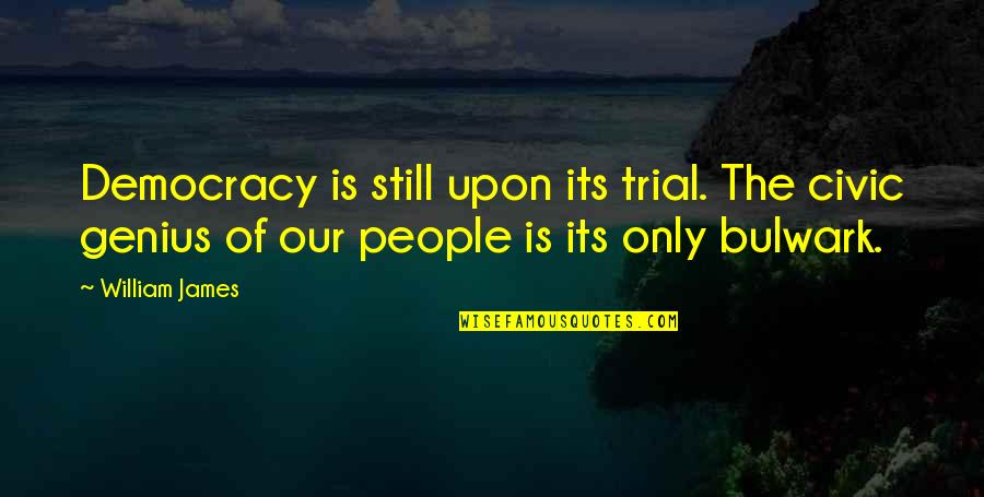 Democracy Now Quotes By William James: Democracy is still upon its trial. The civic
