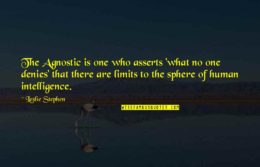 Denies Quotes By Leslie Stephen: The Agnostic is one who asserts 'what no