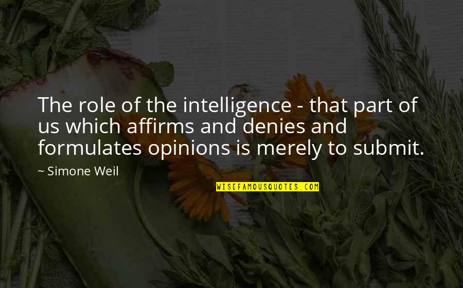 Denies Quotes By Simone Weil: The role of the intelligence - that part