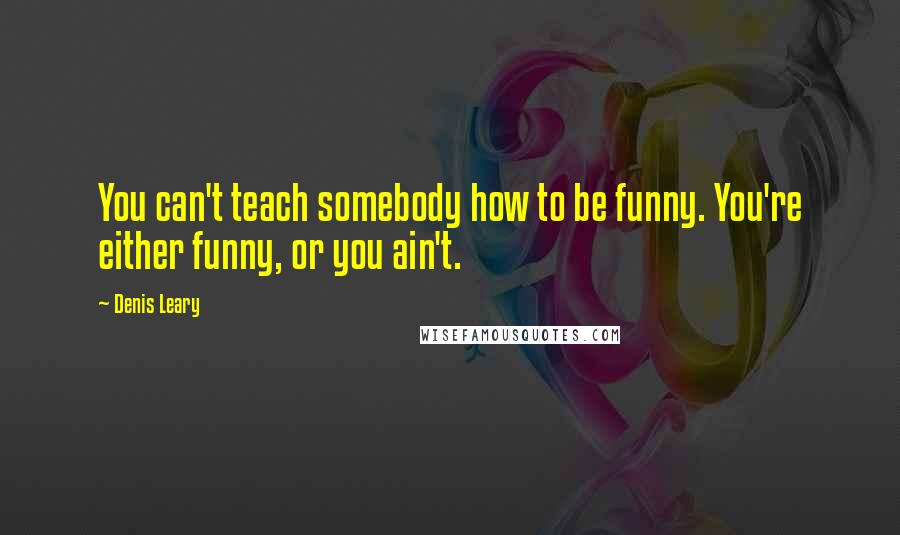 Denis Leary quotes: You can't teach somebody how to be funny. You're either funny, or you ain't.