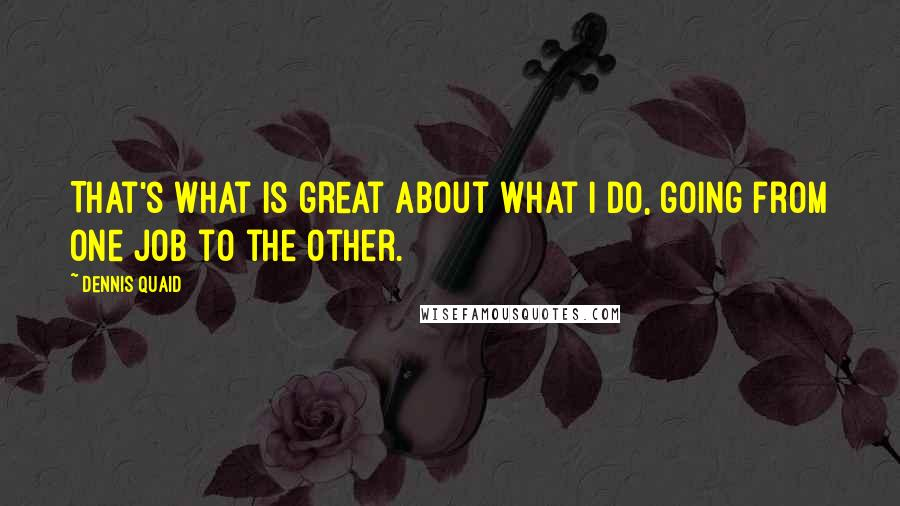 Dennis Quaid quotes: That's what is great about what I do, going from one job to the other.