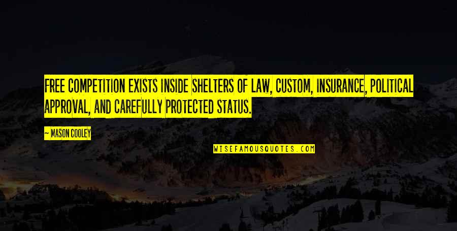 Dennis Wheatley Quotes By Mason Cooley: Free competition exists inside shelters of law, custom,
