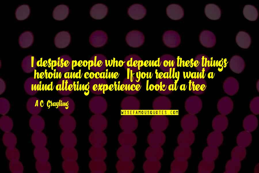 Depend On You Quotes By A.C. Grayling: I despise people who depend on these things