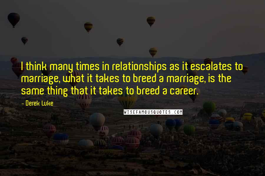 Derek Luke quotes: I think many times in relationships as it escalates to marriage, what it takes to breed a marriage, is the same thing that it takes to breed a career.