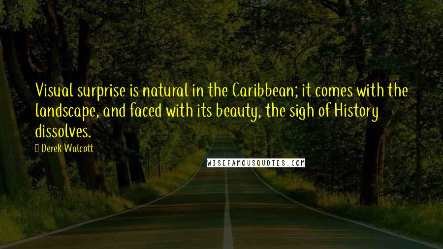 Derek Walcott quotes: Visual surprise is natural in the Caribbean; it comes with the landscape, and faced with its beauty, the sigh of History dissolves.