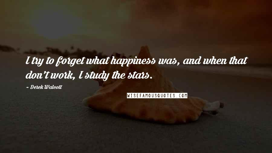 Derek Walcott quotes: I try to forget what happiness was, and when that don't work, I study the stars.