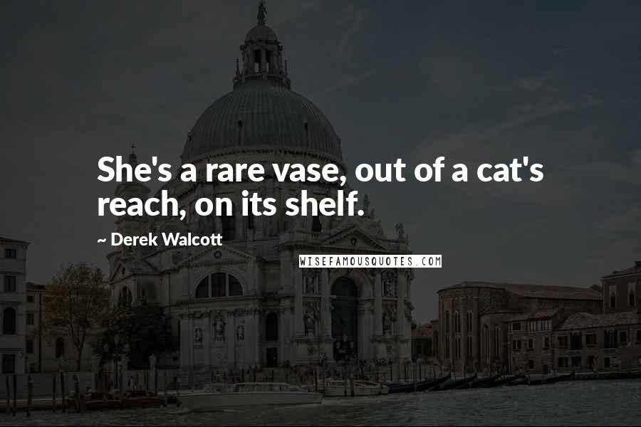 Derek Walcott quotes: She's a rare vase, out of a cat's reach, on its shelf.