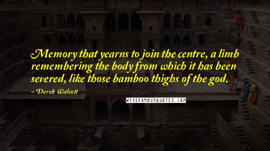 Derek Walcott quotes: Memory that yearns to join the centre, a limb remembering the body from which it has been severed, like those bamboo thighs of the god.