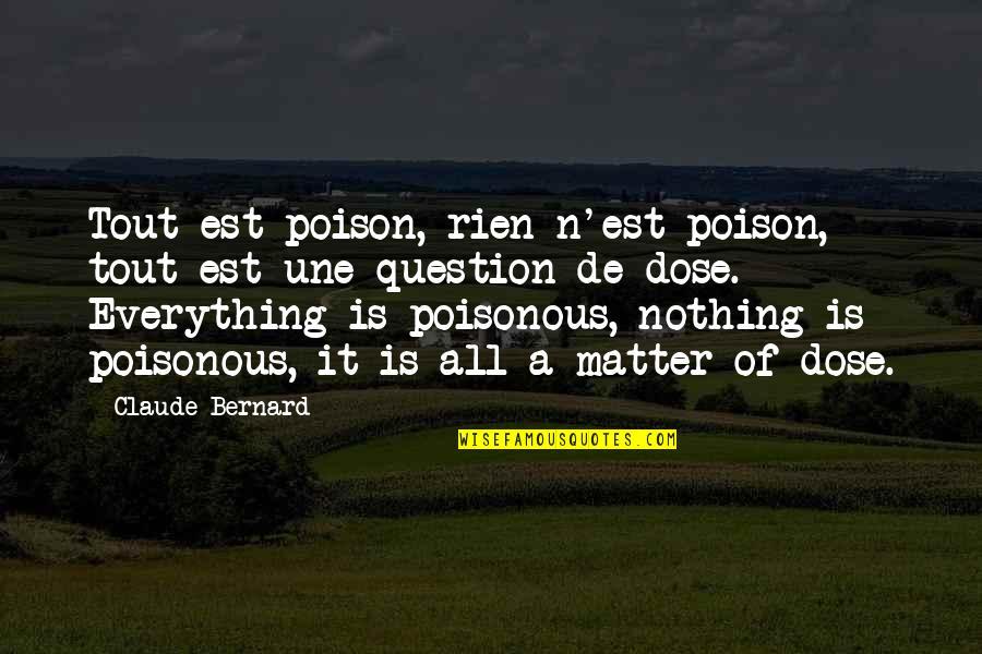 Deriving Quotes By Claude Bernard: Tout est poison, rien n'est poison, tout est