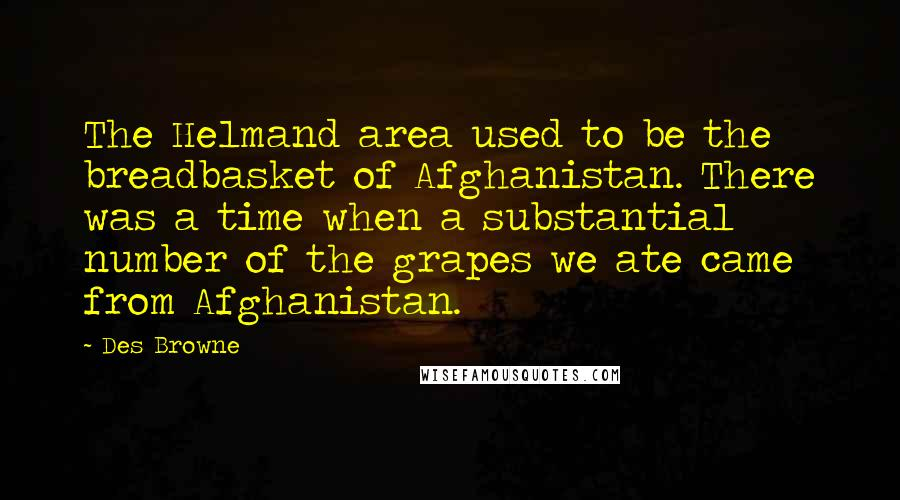 Des Browne quotes: The Helmand area used to be the breadbasket of Afghanistan. There was a time when a substantial number of the grapes we ate came from Afghanistan.