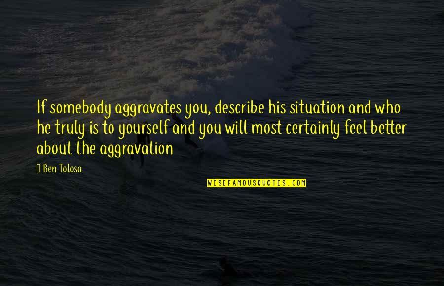 Describe Yourself Quotes By Ben Tolosa: If somebody aggravates you, describe his situation and