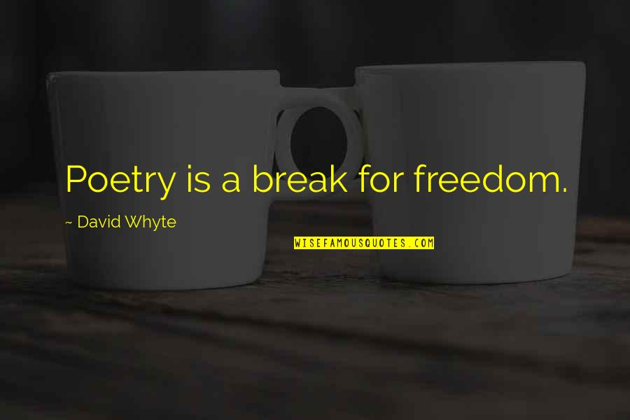 Designer Handbags Quotes By David Whyte: Poetry is a break for freedom.