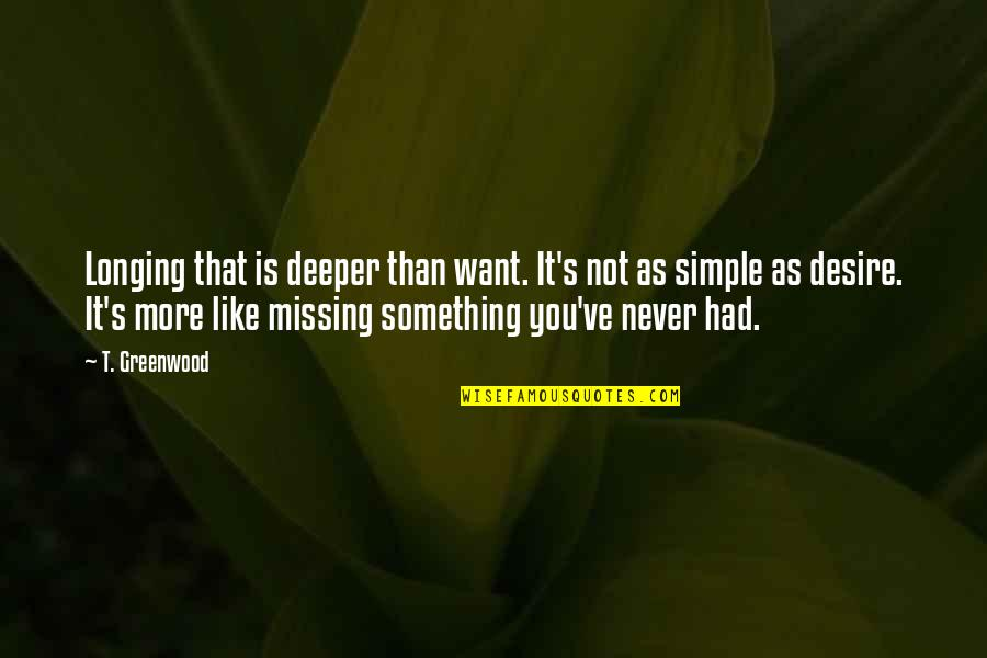 Desire And Longing Quotes By T. Greenwood: Longing that is deeper than want. It's not