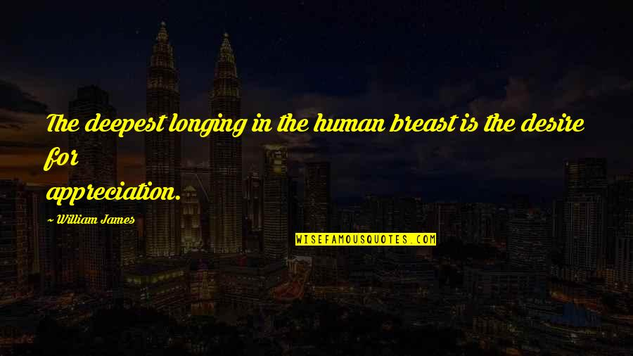 Desire And Longing Quotes By William James: The deepest longing in the human breast is