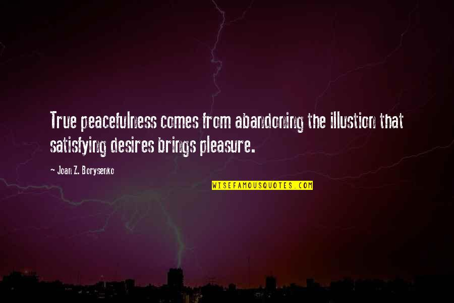 Desire And Pleasure Quotes By Joan Z. Borysenko: True peacefulness comes from abandoning the illustion that