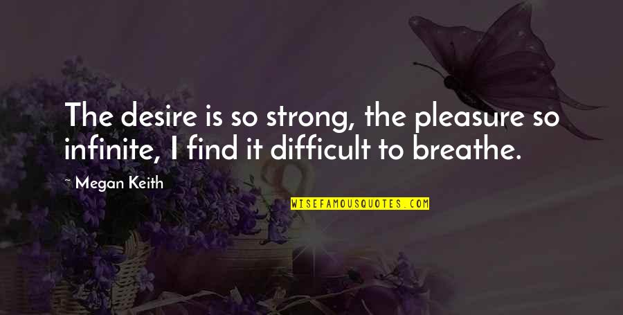 Desire And Pleasure Quotes By Megan Keith: The desire is so strong, the pleasure so