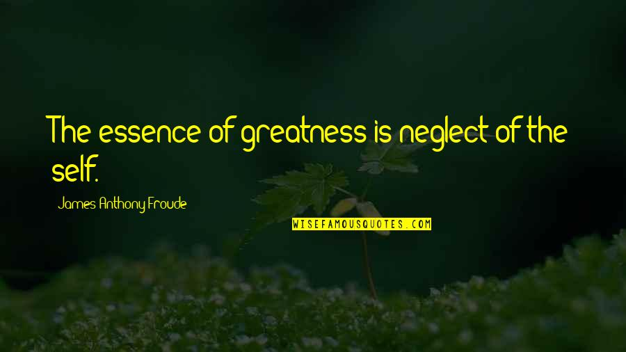 Desmond Hume Quotes By James Anthony Froude: The essence of greatness is neglect of the