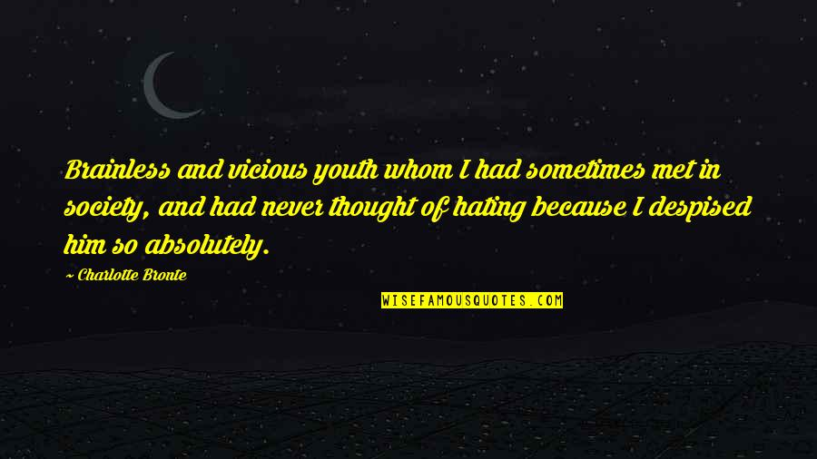 Despised Quotes By Charlotte Bronte: Brainless and vicious youth whom I had sometimes